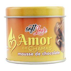 VELA AMOR EM CHAMAS BEIJÁVEL - SABOR E AROMA MOUSSE DE CHOCOLATE, 50 G.                                                  LIBYSEXSHOP